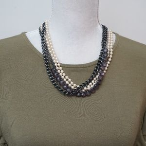 J. Crew Multi-Layered Mixed Materials Necklace